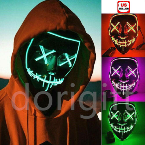 3-Modes LED Mask Cosplay Costume Light Up Scary Halloween Party Purge Wire Decor Accessories