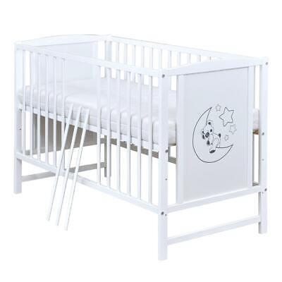 Babybett Gitterbett KInderbett 120x60 weiß mit Teddy Mond Motiv und Matratze