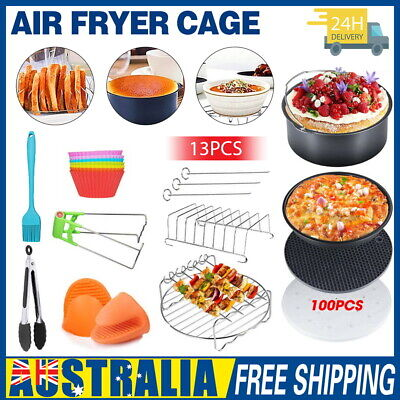 """13PCS 8"""" Air Fryer Accessories Frying Cage Dish Baking Pan Tray Rack Pizza Pot"""