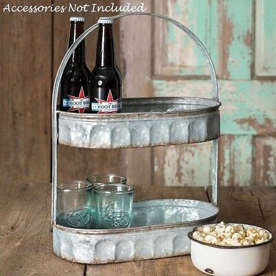 Farmhouse Galvanized 2 Tiered Corrugated Oval Tray with Handle Industrial - Tiered Serving Tray