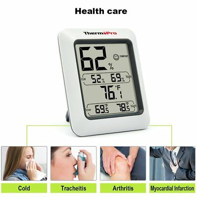 Indoor Digital Thermometer With Humidity Monitor Hygrometer Fahrenheit Celsius