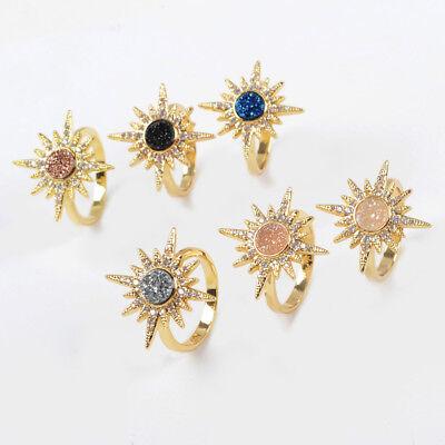 Sun Bezel Ring - 1Pcs 6mm Sun Starburst Titanium Rainbow Druzy Gold Plated Bezel Ring DIY HZG249