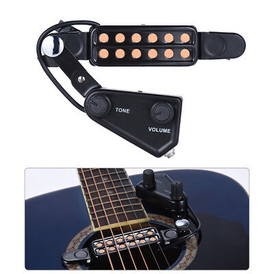 12-hole Acoustic Guitar Sound Hole Pickup Magnetic Transducer Tone Tontrol U9Y3