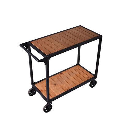 Industrial Rolling Kitchen Islands Carts Wood Wine Cart Hotel Trolley 2 Tiers