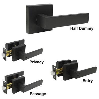Black Square Shape Keyed Entry/Keyless Privacy/Passage Lever Door Handles Lock