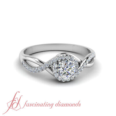 One Carat Round Cut FLAWLESS Diamond Twisted Halo Engagement Ring In White Gold