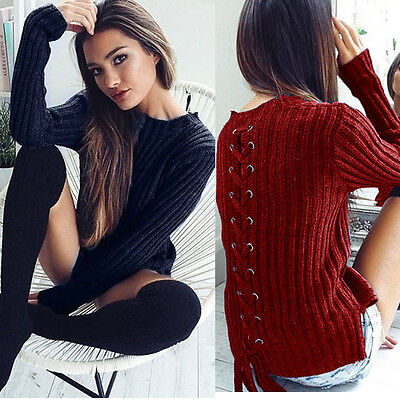 Sexy Womens Thick Casual O-Neck Bandage Winter Long Sleeve Sweaters Coat Blouse