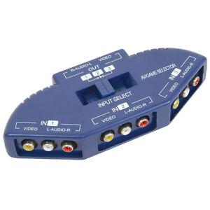 AV Multi Input Output 3-Way RCA Audio Video Selector Switcher Switch Box