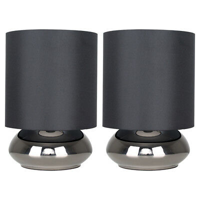 Pair of Modern Black Chrome Touch Dimmer Bedside Lamp Table Lights Lamps