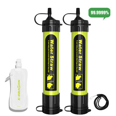 2Pack Life Straw Portable Water Filter Purification Emergency Survival Camping