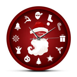 Merry Christmas Santa Clause Home Decor Wall Clock Holiday Red Housewarming Gift