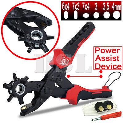 "10"" Power Assist Revolving Leather Hole Punch Belt Eyelet Plastic Puncher Pliers"