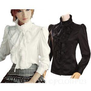 Summer-Top-Ladies-Fashion-Shirts-Womens-Vintage-Satin-Shirt-Victorian-Blouse-Sz