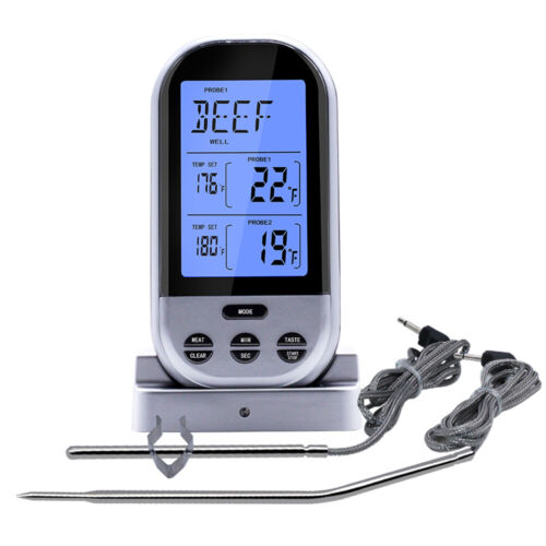 Digital Wireless Remote Dual Probes Meat Thermometer BBQ Oven Grill 5 Level Temp
