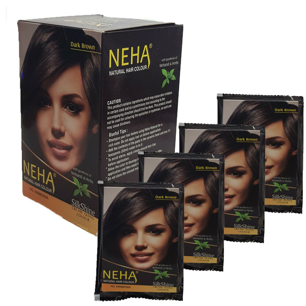 75g Neha Natürliche Haarfarbe Henna Pulver Kräutern Dunkelbraun Farbe 5x15g