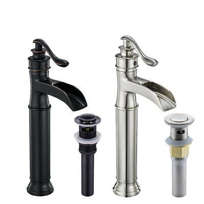 Bathroom Waterfall Faucet Vessel Sink Faucet Single Handle One Hole Deck (Bathroom Single Hole Waterfall)
