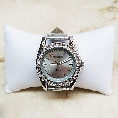 CHRISTMAS MANHATTAN BY CROTON CRYSTAL BEZEL SILVER LEATHER WATCH HSN