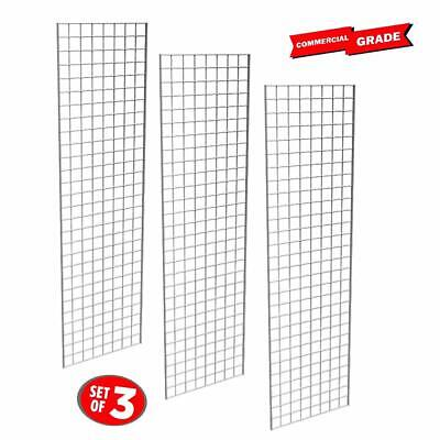 Commercial Grade Chrome Gridwall Panels 2x7 - 3pk