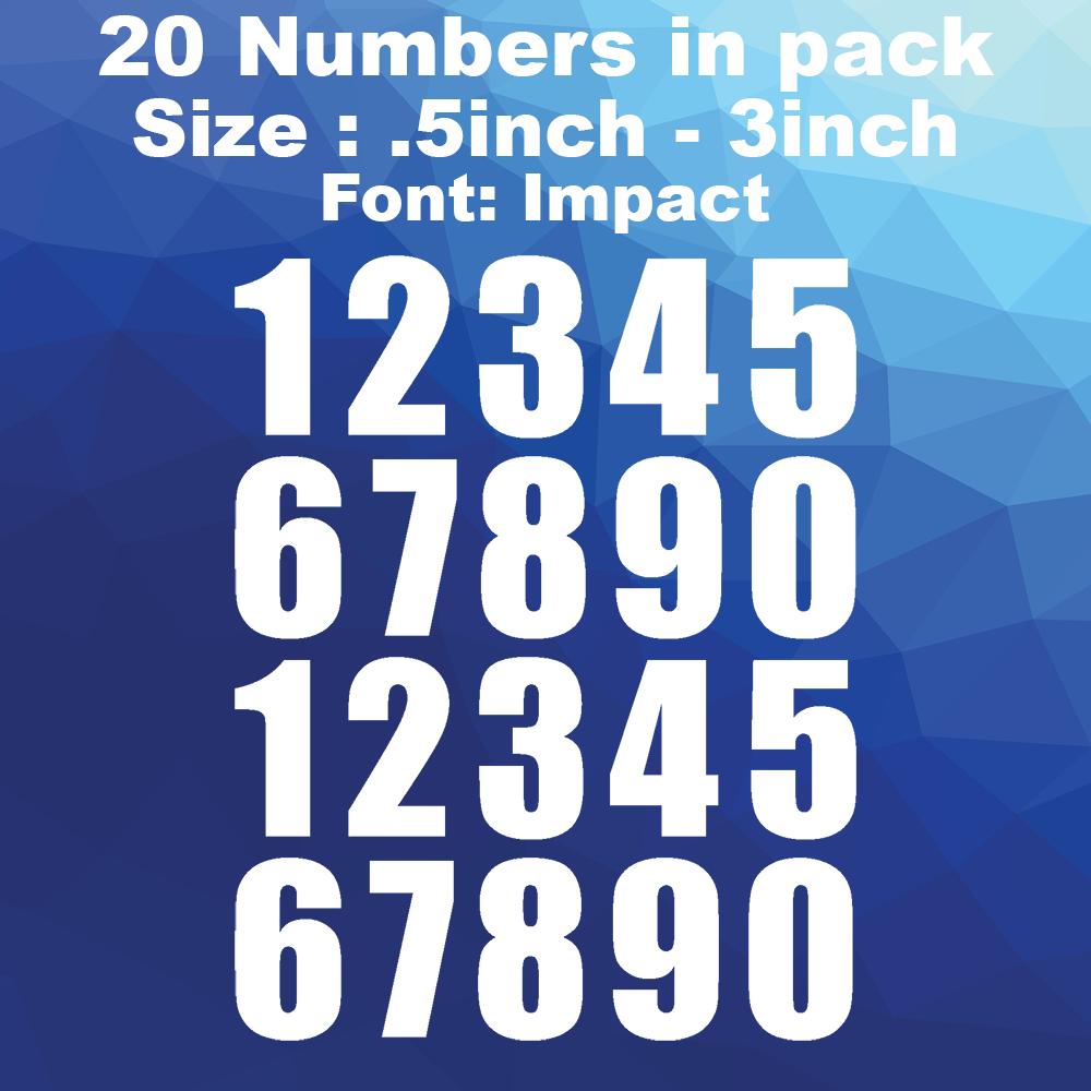 Home Decoration - Street Address locker Mailbox Numbers Decals Sticker Font impact