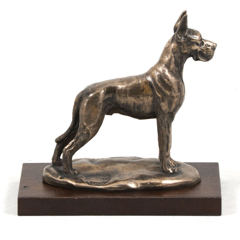 Great Dane Cropped, dog bust/statue on wooden base, ArtDog Limited Edition, CA