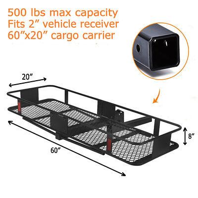 "60"" Folding Car Truck Cargo Carrier Basket Luggage Rack Hitch Hauler Receiver"