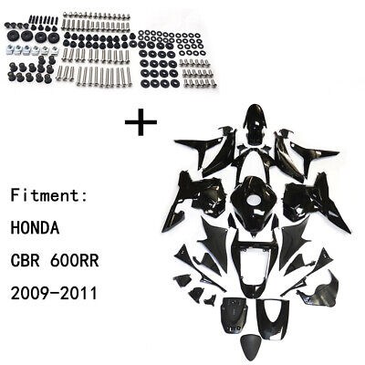 Gloss Black ABS Body work Fairing Kit w/ screw For HONDA CBR600RR 2009-2011 INJE