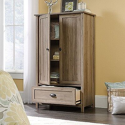 دولاب جديد Sauder 419458 County Line Armoire Salt Oak Finish NEW