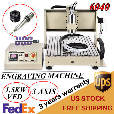 1500w Cnc 6040 Router Engraver Usb 3 Axis Woodworking Engraving Machine Cutter