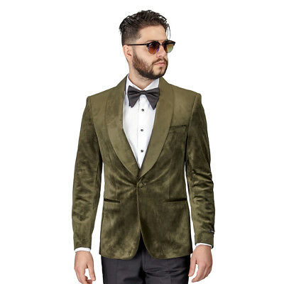 Tuxedo Jacket Mens Slim Fit Green Dinner Velvet Blazer Shawl Lapel 1 Button AZAR
