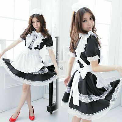 Japanese Maid Uniform Lolita Dress Halloween Cosplay Costume Outfit Plus Size