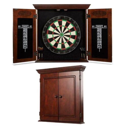 Dart Board Bristle and Wood Cabinet Set Scoreboard and Accessories