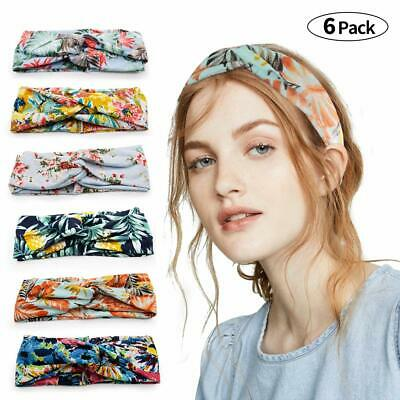 6PCS Vintage Boho Printed Knot Wide Elastic  Headbands Hairhands for Women