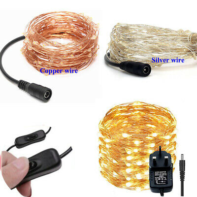 12V LED Micro Rice Wire Copper Fairy String Light Party Warm White Blue Colorful