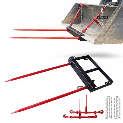 Bucket Dual 49inch Hay Bale Spear Attachment Front Loader Tractor Skid Steer