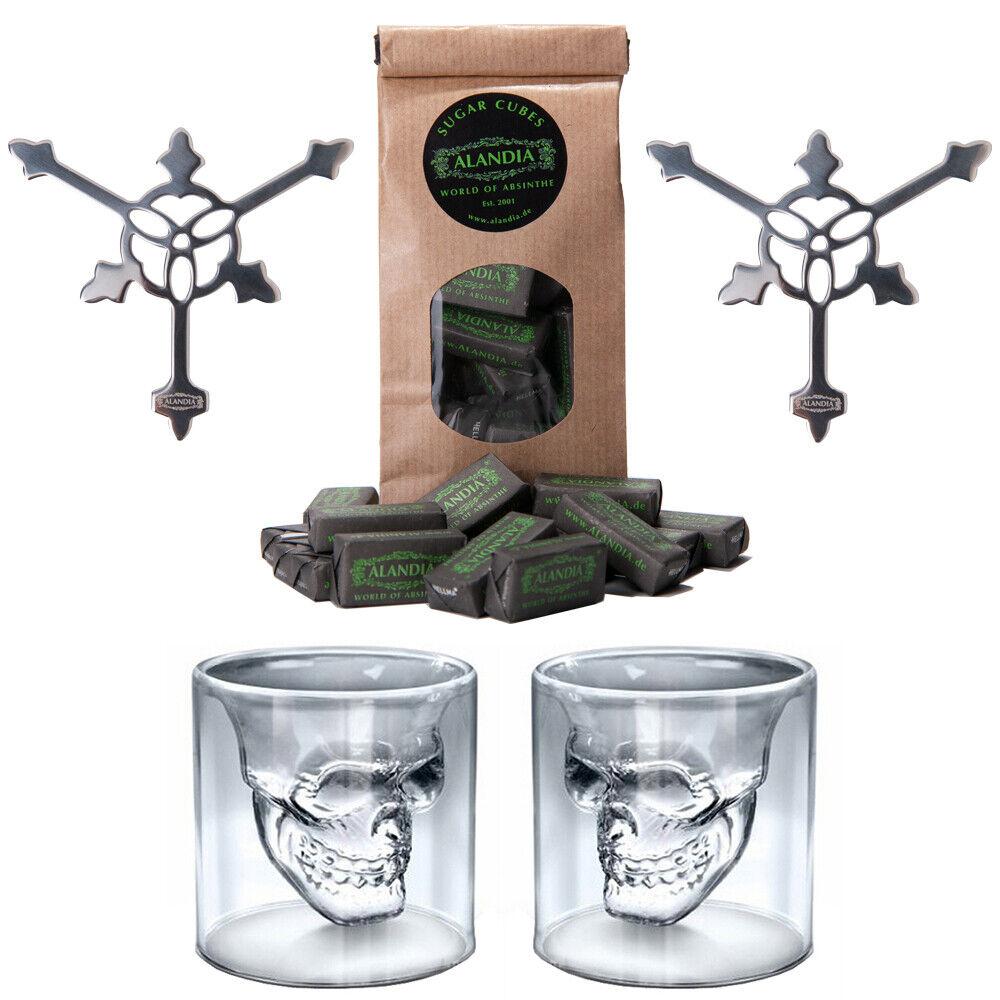 Absinth Glas / Gläser Löffel Set | Totenkopf / Skull Design | ALANDIA™