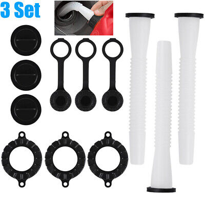 3 Sets Replacement Gas Fuel Can Spouts Cap Parts Kit Blitz Rubbermaid Rubbermade
