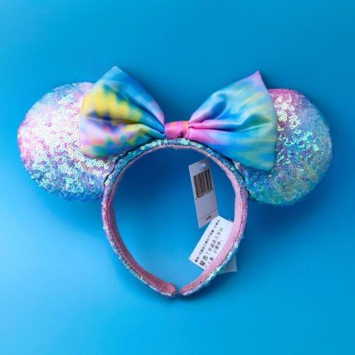 Sequin Pastel Rainbow Tie Dye Headband Ears Disney Parks Minnie Mouse US Ship