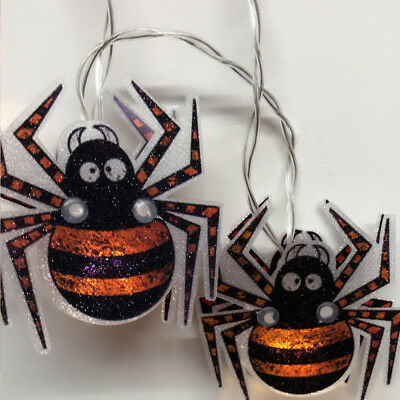 Halloween Party 20 Battery Powered Spooky Decor Spider string Lights on/flash - Halloween Spider String Lights