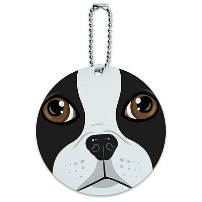 Boston Terrier Face Pet Dog Round Luggage ID Tag Card Suitcase Carry-On ()