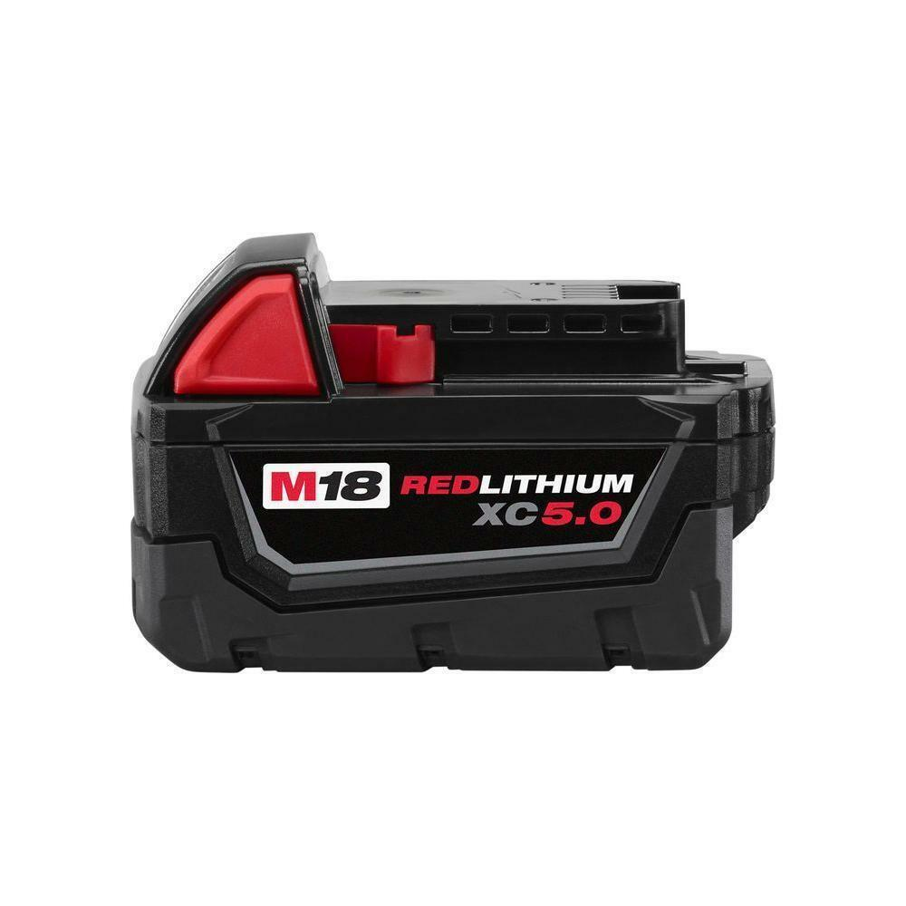 2 New Milwaukee M18 XC 5.0 Ah Batteries 48-11-1850 & 1 Charger 48-59-1812 3