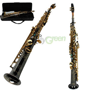Professional Brass Nickel Straight Soprano Saxophone Bb Sax Black