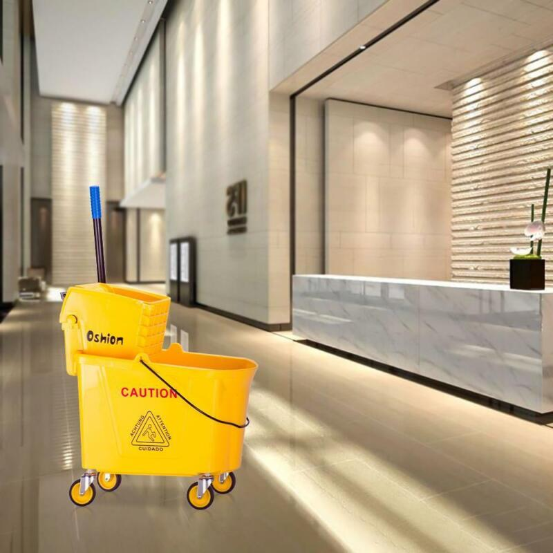 9.5 Gallon Mop Bucket with Side-Press Wringer Combo Commercial Cleaning Cart