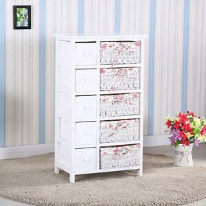 Bedroom Storage Dresser 5 Drawers With Wicker Baskets Cabinet Wood Furniture