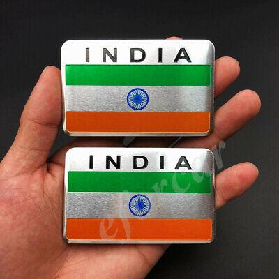 2x Aluminum India Indian Flag Car Emblem Badge Motorcycle Gas Tank Sticker Decal