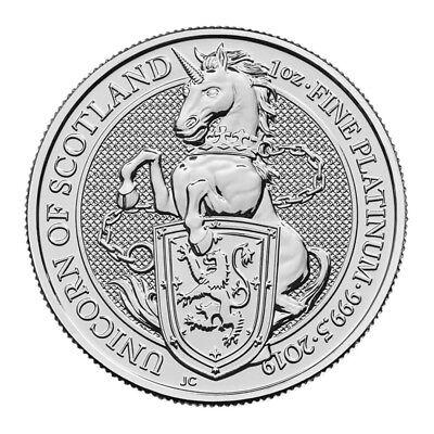 2019 Great Britain Platinum Queen's Beasts Unicorn £100 - 1 oz - BU