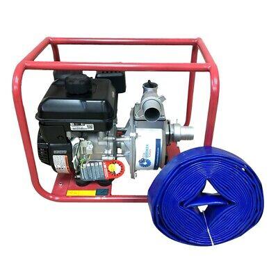 2 In. 6 Hp Gas Powered Water Pump Briggs Stratton Engine Free Hose 30 Feet