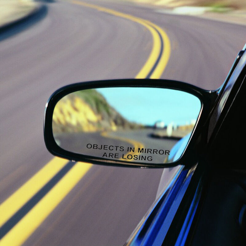 2pcs OBJECTS IN MIRROR ARE LOSING Vinyl Funny Decal Rearview Reflective Sticker
