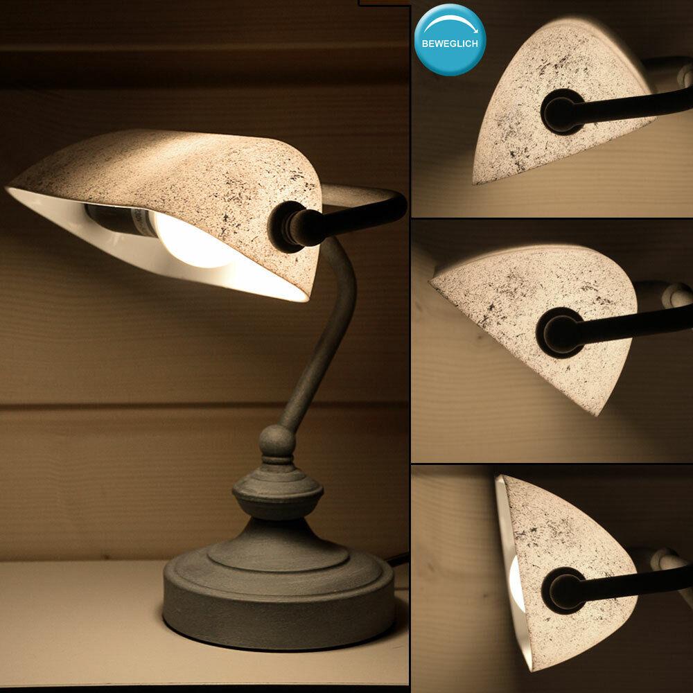 Vintage Schreib Tisch Banker Lampe Büro Beistell Strahler Blattsilber patiniert