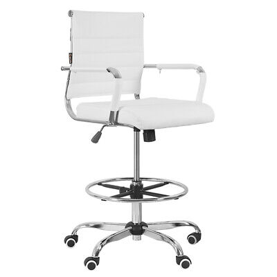 Drafting Office Chair Gaming Ergonomic Computer Pu Leather Executive Seat White