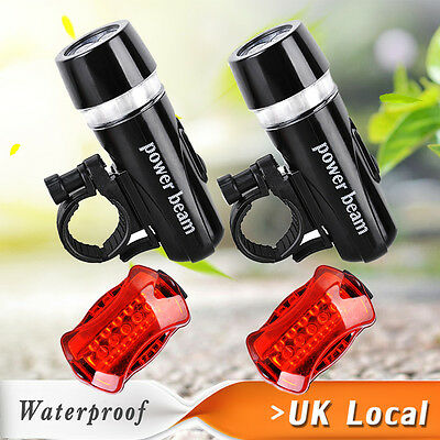 2x 5 LED Bike Bicycle Cycle Front Head Light +Rear Lamp SET Wide Beam Waterproof